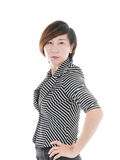 Smart Asian business woman on white Stock Photo