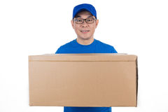 Smart Asian Chinese delivery guy in uniform delivering parcel Stock Images