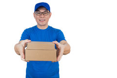 Smart Asian Chinese delivery guy in uniform delivering parcel Royalty Free Stock Photos
