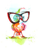 Smart ass. Small bird with big glasses Royalty Free Stock Images