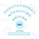 Smart auto car concept with automotive icons. Internet of things road transport. Car Wifi icon. Electric vehicle technology. Car icon. Modern vector royalty free illustration