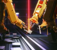 Smart automation industry robot in action stock images