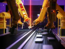 Smart automation industry robot in action royalty free stock images