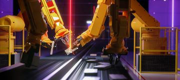 Smart automation industry robot in action royalty free stock photo