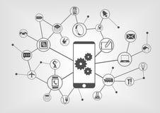 Smart automation och industriell internet av sakerbegreppsillustrationen Royaltyfria Bilder