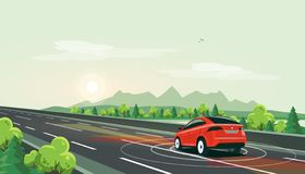 Smart Autonomous Driverless Electric Car Driving on Highway Road with Nature Mountain Landscape. Vector illustration of smart autonomous driverless electric car royalty free illustration
