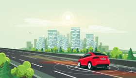 Smart Autonomous Driverless Electric Car Driving on Highway Road to the City Center. Vector illustration of smart autonomous driverless electric car driving on vector illustration