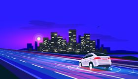 Smart Autonomous Driverless Electric Car Driving on Road to the City at Night with blurry Lights stock illustration