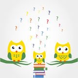 Smart baby owls. Vector illustration Stock Images