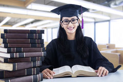 Smart bachelor in library Stock Photos