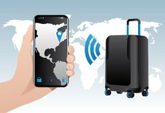 Smart baggage with built-in GPS tracking Stock Photography