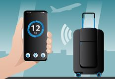 Smart baggage with wireless control Stock Images