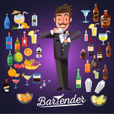 smart bartender mixing cocktail with alcoholic cocktail set. character design - vector royalty free illustration