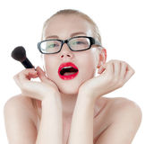 Smart beautiful girl with a brushes for makeup. royalty free stock photo