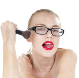 Smart beautiful girl with a brushes for makeup. royalty free stock photography