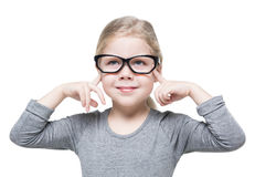 Smart beautiful little girl in glasses isolated Royalty Free Stock Photography
