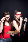 Smart And Beautiful - Oposite Twins Royalty Free Stock Photo