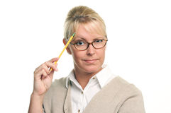 Smart Beautiful Woman with Pencil royalty free stock image