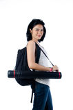 Smart and beauty college girl with blueprint tube carrier Stock Photography