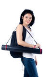Smart and beauty college girl with blueprint tube carrier Stock Images
