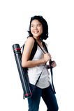 Smart and beauty college girl with blueprint tube carrier Stock Photo