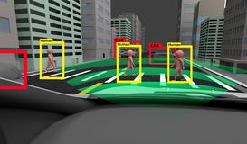 Smart bil, lära för maskin och AI för att identifiera objektteknologi, begrepp för konstgjord intelligens Bearbeta för bild, stock illustrationer
