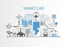 Smart bilbegrepp med handen som rymmer den fria smartphonen för modern skyddsram royaltyfri illustrationer