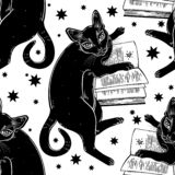 Smart black cat reading the magic book seamless pattern. Kitten is studying Gothic occult knowledge or witchraft space geometric shape with stras and crescent stock illustration