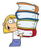 Smart blond caucasian school. Girl carrying a stack of books Royalty Free Stock Photography