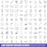 100 smart board icons set, outline style. 100 smart board icons set in outline style for any design vector illustration vector illustration