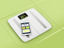 Smart body analyzer and smartphone Royalty Free Stock Images