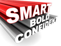 Smart bold and confident. Words zooming into view, concept of personal and business traits Royalty Free Stock Photo