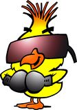 Smart boxing chicken with cool sunglass Stock Photography
