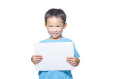 Smart boy with blank sheet paper Royalty Free Stock Images