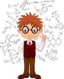 Smart boy cartoon Stock Images