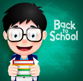 Smart Boy Character Wearing Eyeglasses and Backpack Royalty Free Stock Photos