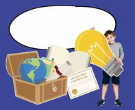 Smart boy with education icons stock photography