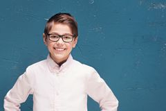 Smart boy in eyeglasses smiling. royalty free stock photos