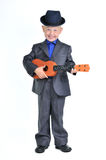 Smart Boy with Guitar Royalty Free Stock Images