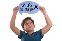 Sports sign on thought bubble stock photo