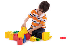 Smart boy playing with blocks Royalty Free Stock Images