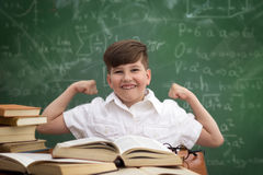 Smart boy sitting at desk  expressing the power of knowledge. Ed Stock Image