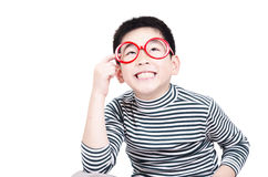 Smart boy thinking an idea. On white background Stock Photos