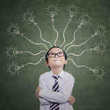 Smart Boy Thinking Many Ideas Royalty Free Stock Images