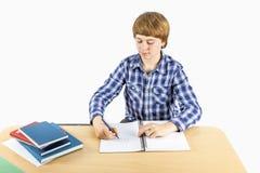 Smart boy writing in a book Stock Photos