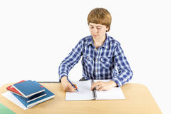 Smart boy writing in a book Royalty Free Stock Image