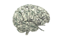 Smart brain can earn more money. Money brain isolated on white background with clipping path Stock Photo