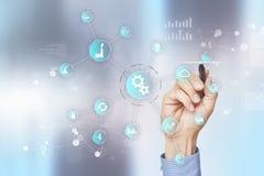 Smart bransch- och automationbegrepp E IOT teknologibegrepp royaltyfri foto