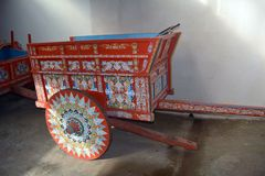 A smart, bright trolley painted in traditional style, used on Costa Rica`s farms Royalty Free Stock Images