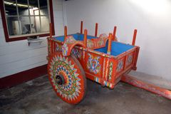 A smart, bright trolley painted in traditional style, used on Costa Rica`s farms Stock Images